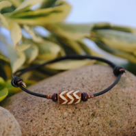 Friendship Bracelet-black leather ethnic zebra wood bead