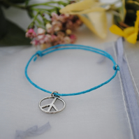 Friendship Bracelet-Turquoise with silver peace