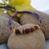 Mookaite & Purple friendship bracelet
