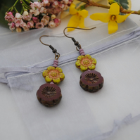 Deep red & chartreuse peony flower earrings