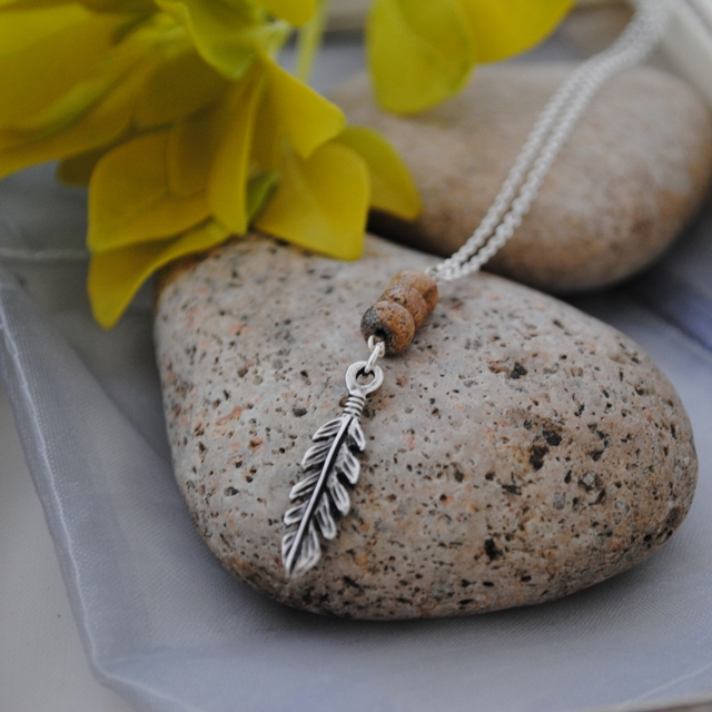 Picture Jasper & antique silver leaf long layering necklace