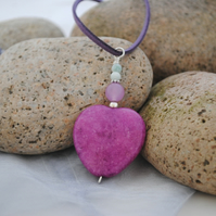 Purple jade heart and amazonite pendant necklace