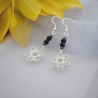 Silver flower & black bead earrings