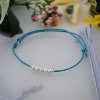 Friendship Bracelet-turquoise with silver beads
