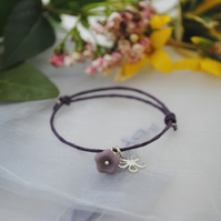 Friendship Bracelet-Purple with purple and silver flower