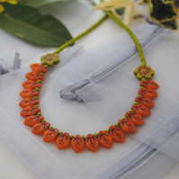 Orange leaf and chartreuse peony flower necklace