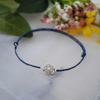 Friendship Bracelet-Navy & silver flower