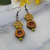 Orange & chartreuse peony flower earrings