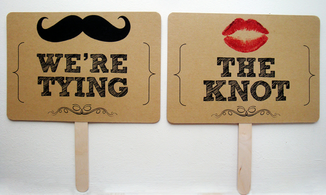 We're Tying The Knot & Save The Date photo sign props