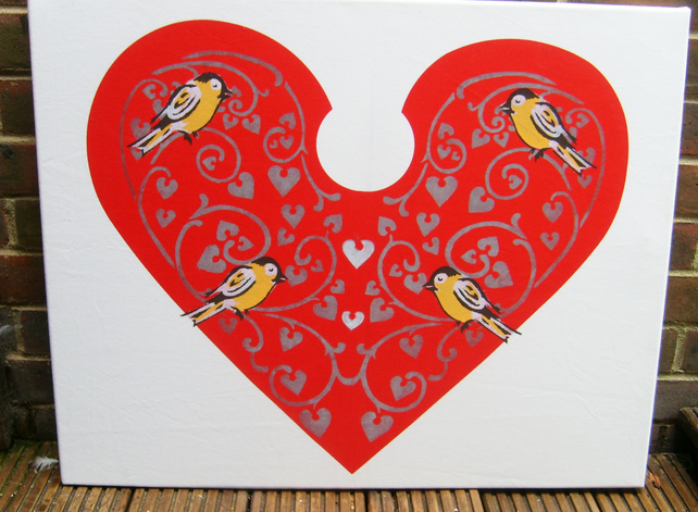 Loveheart and Birds - Stencilled canvas