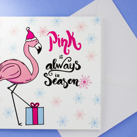 Pink is Always in Season, Flamingo Christmas Card