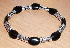 Mens Black Onyx with Tibetan Silver Bracelet