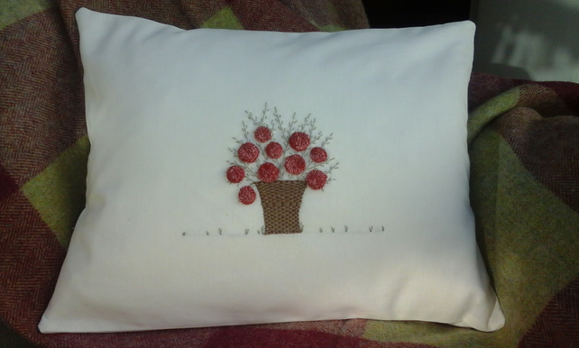 hydrangea cushion in cherry cordial