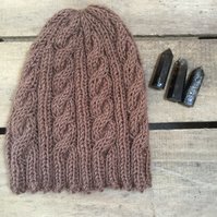 Unisex Vegan Cable Beanie - Taupe Brown