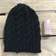 Unisex Vegan Cable Beanie - Black
