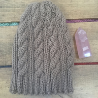 Unisex Vegan Cable Beanie - Almond