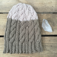 Unisex Cable Vegan Beanie - Taupe & Almond