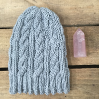 Unisex Vegan Cable Beanie - Light Grey