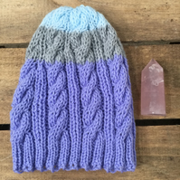 Unisex Vegan Cable Beanie - Purple Stripe