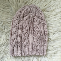 Unisex Vegan Cable Beanie - Winter White