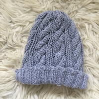 Unisex Vegan Cable Beanie - Grey