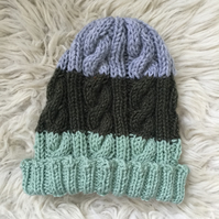 Unisex Vegan Cable Beanie - Green Stripe