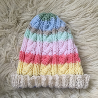 Unisex Vegan Cable Beanie - Bright Rainbow