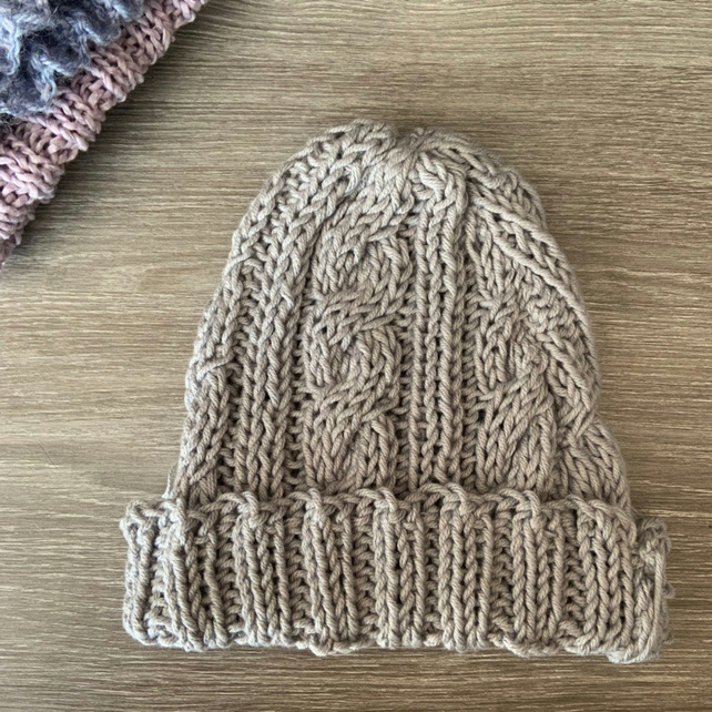 Unisex Vegan Cable Beanie - Grey Cotton