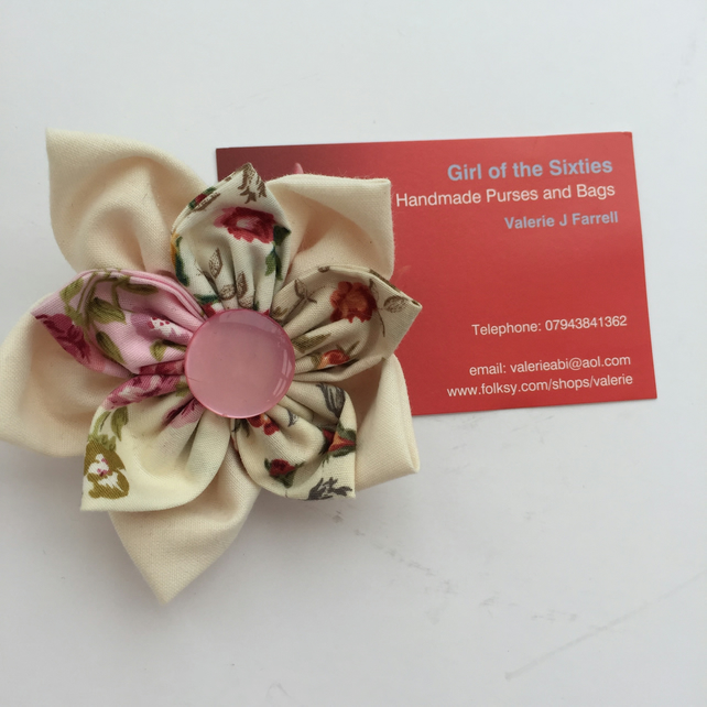 Double Flower Fabric brooch