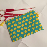 SALE Elephants  Make Up Bag  Pencil Case
