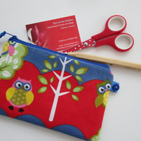 SALE Owls Make Up Bag  Pencil Case