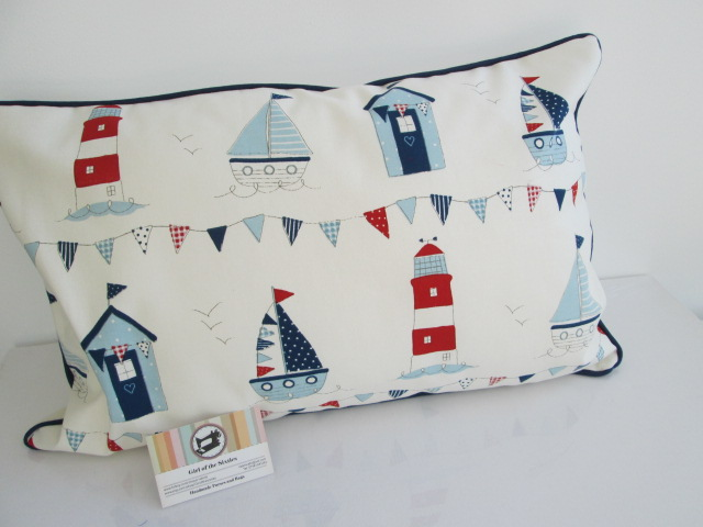 Beach Huts  Lighthouse and Boats Cushion