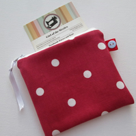 SALE Red Spotty  Coin Purse