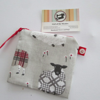 SALE Red Sheep  Coin Purse