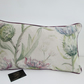 Voyage Thistle Glen Spring Fabric Cushion With Purple Piping