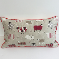 Red  Sheep Cushion Cover
