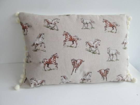 Horse Cushion with cream  bobbles