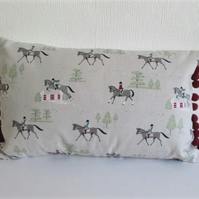 Sophie Allport Horses  Cushion with Red Bobbles