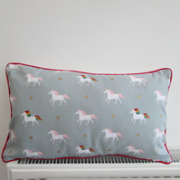 Sophie Allport Magical Unicorns Unicorn Cushion Cover with Red Piping