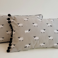 Sophie Allport Sheep   Cushion with Black  Bobbles