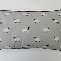 Sophie Allport Sheep   Cushion Cover with Black Piping