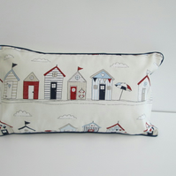 Beach Huts  Cushion Cover With Navy Piping