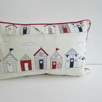 Beach Huts  Cushion Cover With Red Piping