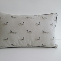 Sophie Allport Hares  Cushion with Dark Grey Piping