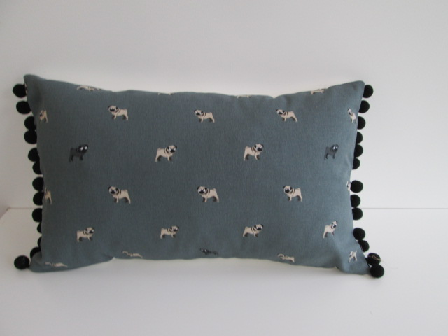 Sophie Allport Pugs Cushion with Black Bobbles