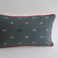 Sophie Allport Pugs Cushion Cover with Red Piping