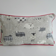 Grey Sheep Cushion Cover with Red Piping