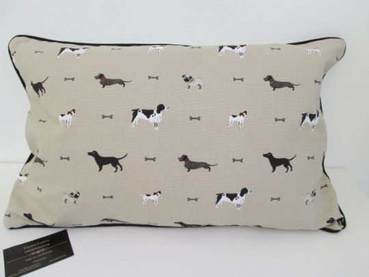 Sophie Allport Dogs Cushion with Black Piping
