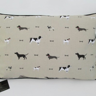 Sophie Allport Dogs Cushion Cover with Black Piping