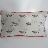 Sophie Allport Horses  Cushion Cover with Red Piping